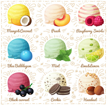 berry fruit: Set of cartoon vector icons isolated on white background. Ice cream scoops with different fruit and berry flavors