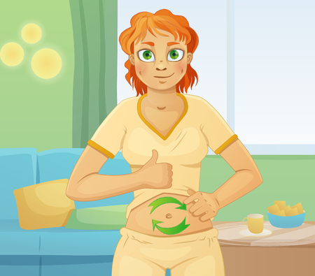 digestion: Woman with good digestion. Well feeling stomach. Cartoon vector illustration