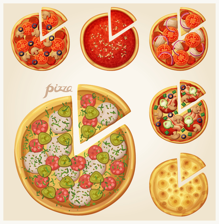 Pizza top view set Ilustrace