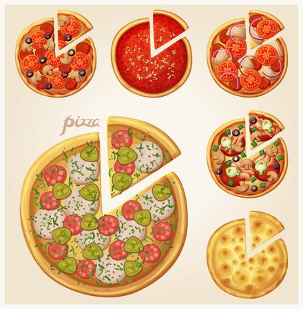 Pizza top view set Vectores