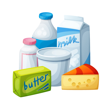 milk products: Dairy products, milk food. Cartoon vector illustration isolated on white background