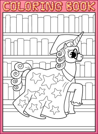 master page: Coloring book page. Astronomy master unicorn horse walks along books shelves