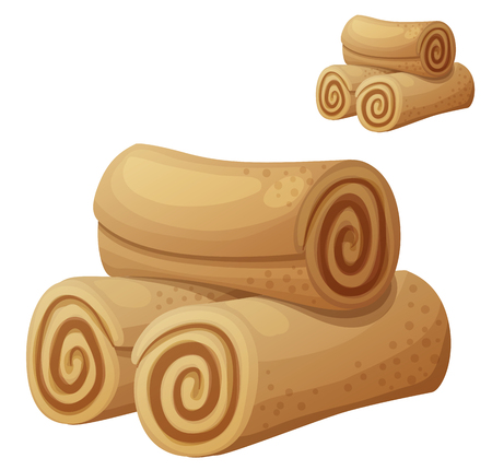 homemade bread: Rolled cookies illustration. Cartoon vector icon isolated on white background. Series of food and drink and ingredients for cooking.