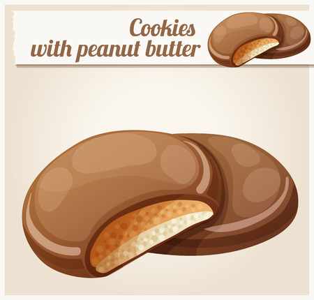 Chocolaty coating covered cookies layered with cream and peanut butter. Cartoon vector illustration. Series of food and drink and ingredients for cooking. Illustration