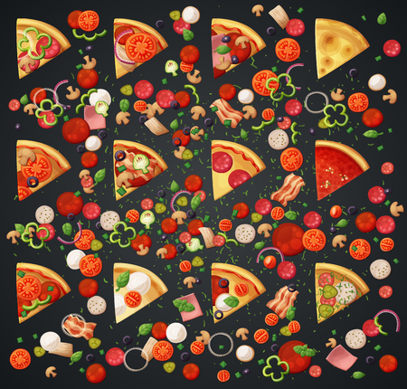 comida italiana: Various pizza top view slices and ingredients. Cartoon vector illustration