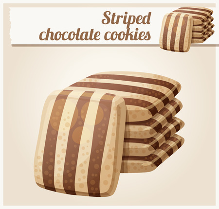 shortbread: Striped chocolate cookies. Cartoon vector illustration. Series of food and drink and ingredients for cooking. Illustration