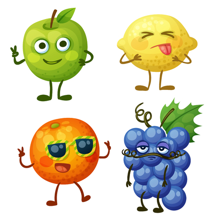 white grape: Funny fruit characters isolated on white background. Cheerful food emoji. Cartoon vector illustration: green apple, sour yellow lemon, cheerful orange, calm blue grape Illustration