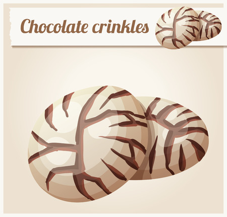 christmas cake: Chocolate crinkles cookies illustration. Cartoon vector icon. Series of food and drink and ingredients for cooking.