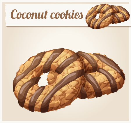 Coconut cookies with chocolate stripes illustration. Cartoon vector icon. Series of food and drink and ingredients for cooking.