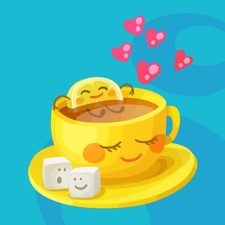Personajes de comida divertidos una taza de té, rebanada de limón y cubos de azúcar en el amor. Alegre emoji ilustración vectorial de dibujos animados