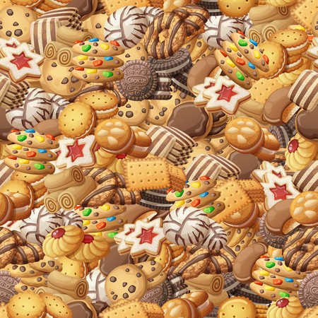Various cookies seamless pattern. Sweet food cartoon vector illustration 向量圖像