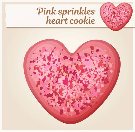 14th: Pink sprinkles heart cookie illustration. Cartoon vector icon. Series of food and drink and ingredients for cooking
