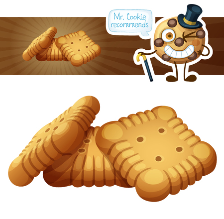 Square crackers cookies illustration. Cartoon vector icon isolated on white background. Series of food and drink and ingredients for cooking.