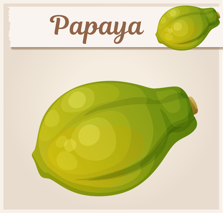 Whole papaya fruit. Cartoon vector icon. Series of food and drink and ingredients for cooking