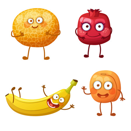 Funny fruit characters isolated on white background. Cheerful food emoji. Cartoon vector illustration: cool melon, pretty pomegranate, cute banana, affable apricot Illustration