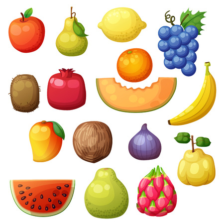 Cartoon fruits icons set isolated on white background. Vector illustration of apple, pear, lemon, grape, orange, kiwi, pomegranate, melon, banana, mango, fig Illusztráció