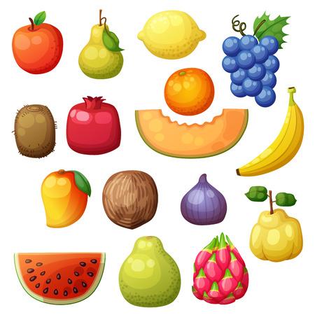 Cartoon fruits icons set isolated on white background. Vector illustration of apple, pear, lemon, grape, orange, kiwi, pomegranate, melon, banana, mango, fig Vettoriali