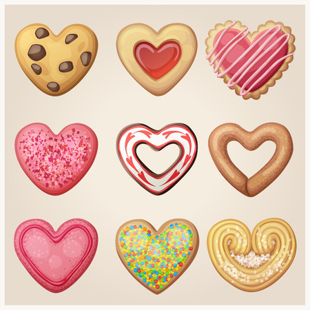 Valentine day cookie set. Heart shaped pastry illustration. Cartoon vector icons Illusztráció