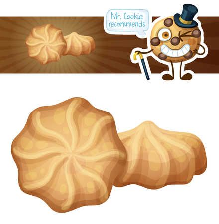Butter cookies cartoon illustration. .