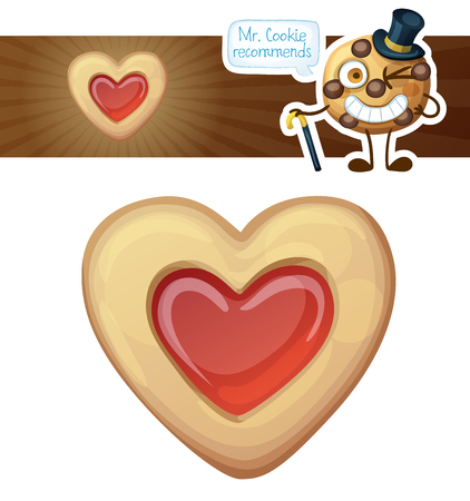 Jam filled heart cookies illustration.