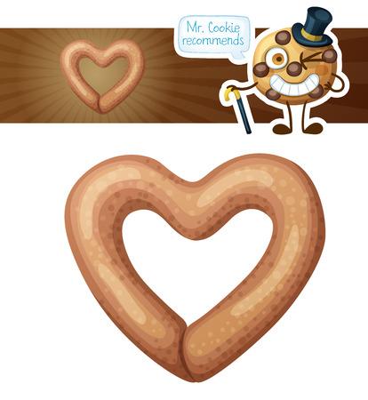 Heart shaped pretzel cookie illustration.