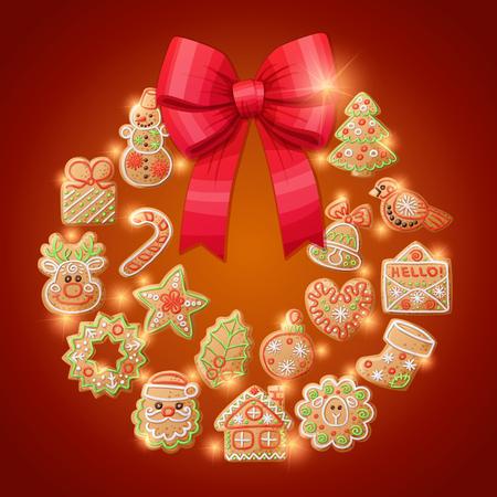 Ginger cookies christmas wreath decorative background. Cartoon vector illustration Stock Photo