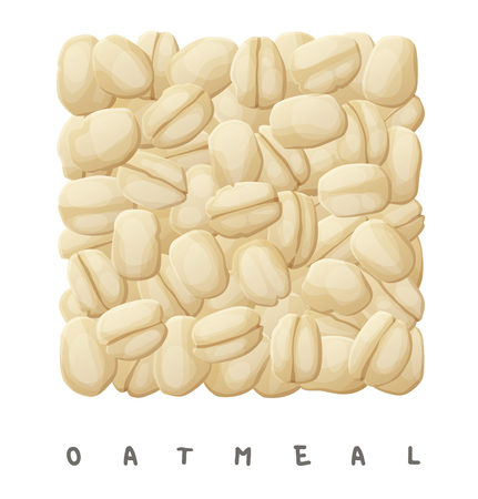 Oatmeal square icon. Cartoon vector illustration isolated on white background  イラスト・ベクター素材