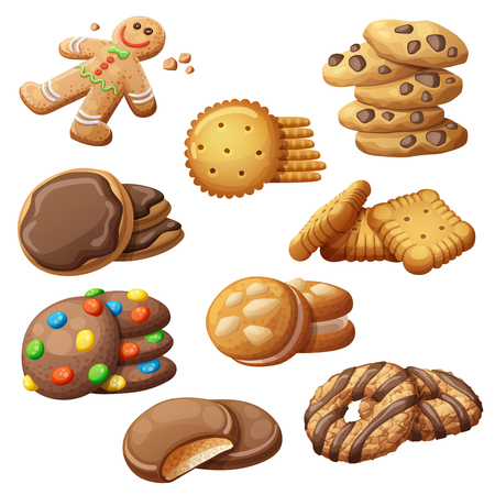Set of delicious cookies. Cartoon vector illustration. Food sweet icons isolated on white background
