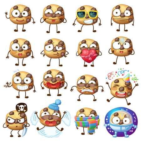 Cartoon choc chip cookie characters illustration 2 Illustration