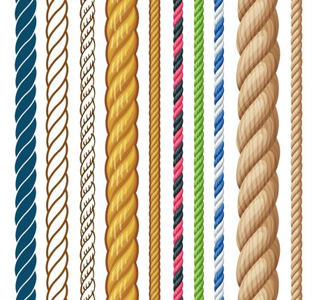 Ropes set. Cartoon vector illustration isolated on white background
