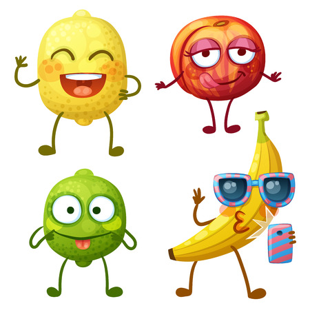 Funny fruit characters isolated on white background. Cheerful food emoji. Cartoon vector illustration: funny lemon, cheerful lime, lovely flirty peach, cute banana makes selfie