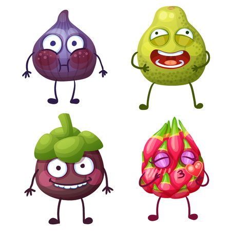 Funny fruit characters isolated on white background. Cheerful food emoji. Cartoon vector illustration: confused fig, crazy pomelo, cute mangosteen, lovely pitaya (dragon fruit)