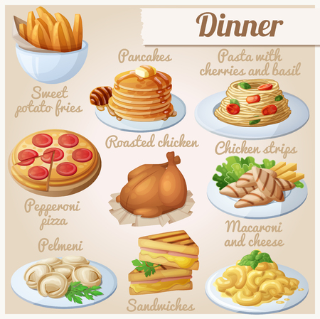 Set of food icons. Dinner. Sweet potato fries, pancakes, pasta with tomato cherries and basil, pepperoni pizza, roasted chicken, chicken strips, pelmeni, sandwiches, macaroni and cheese Illustration