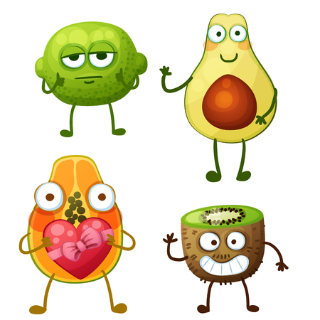 Funny fruit characters isolated on white background. Cheerful food emoji. Cartoon vector illustration: calm lime, cute avocado, papaya in love, funny kiwi