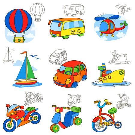 Transport vehicles. Cartoon coloring book page