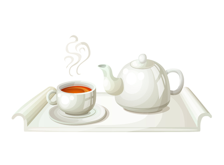 White teapot and cup of tea.