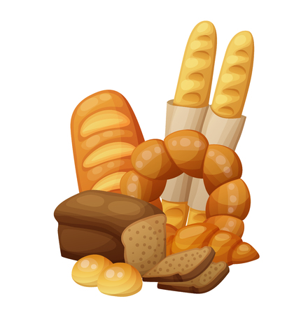 Bakery bread, buns, croissant loaf . Cartoon vector illustration isolated on white background Vetores