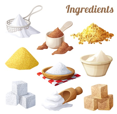 Set of food icons. Ingredients for cooking. Cartoon vector illustration
