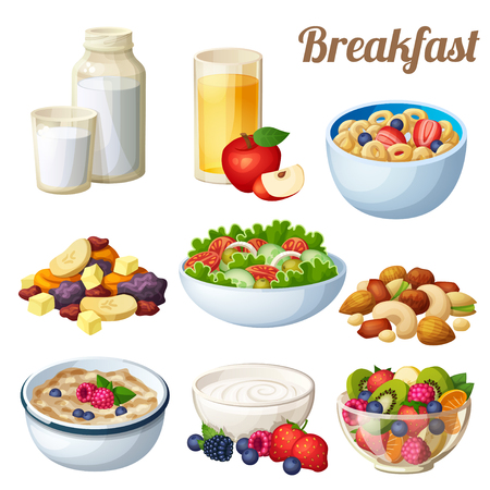 Breakfast 2. Set of cartoon vector food icons isolated on white background. Milk, apple juice, cold cereal, nuts dried fruits, greek salad, oatmeal yohurt, fruit salad