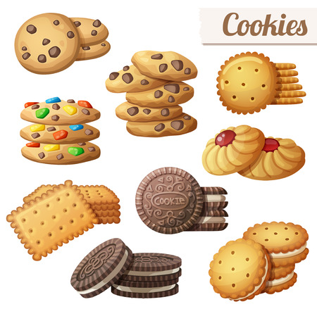Cookies. Set of cartoon vector food icons isolated on white background