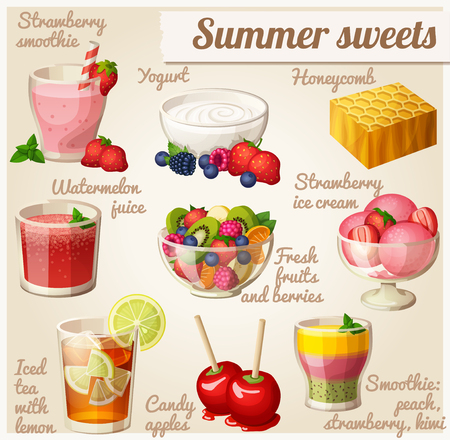 Set of food icons. Summer sweets Stock Photo