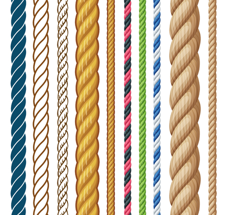 Ropes set. Cartoon vector illustration