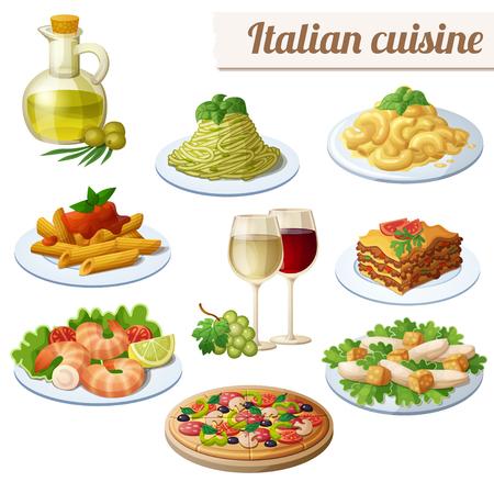 Set of food icons isolated on white background. Italian cuisine. Ilustrace