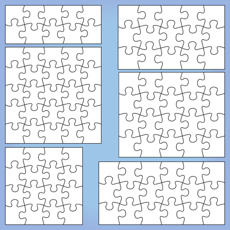Puzzle set 10 15, 16 18 20 25 pieces outline vector jigsaw.