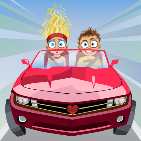 Boy and girl riding in a car at high speed