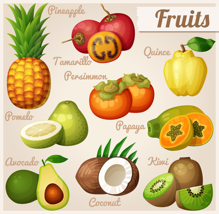 Set of cartoon food icons. Exotic fruits. Pineapple (ananas), tamarillo, quince, persimmon Vettoriali