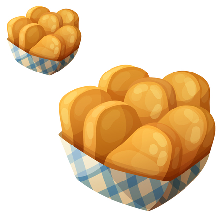 Chicken nuggets in the paper basket. Vettoriali