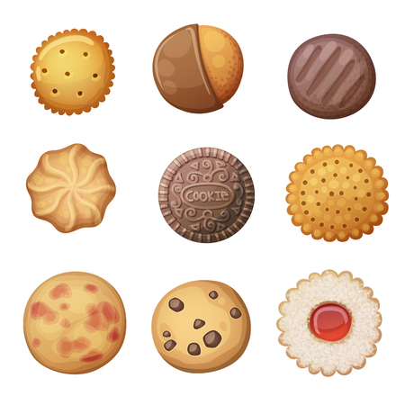 Round cookies set. Top view pastry illustration. Cartoon vector icons isolated on white background