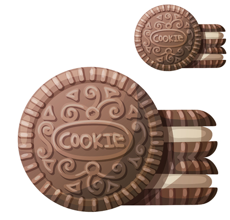 Chocolate cookie 2. Vector icon isolated