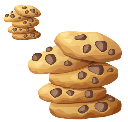 Choc chip cookies vector icon isolated on white
